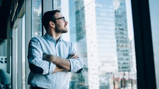 contemplative male entrepreneur