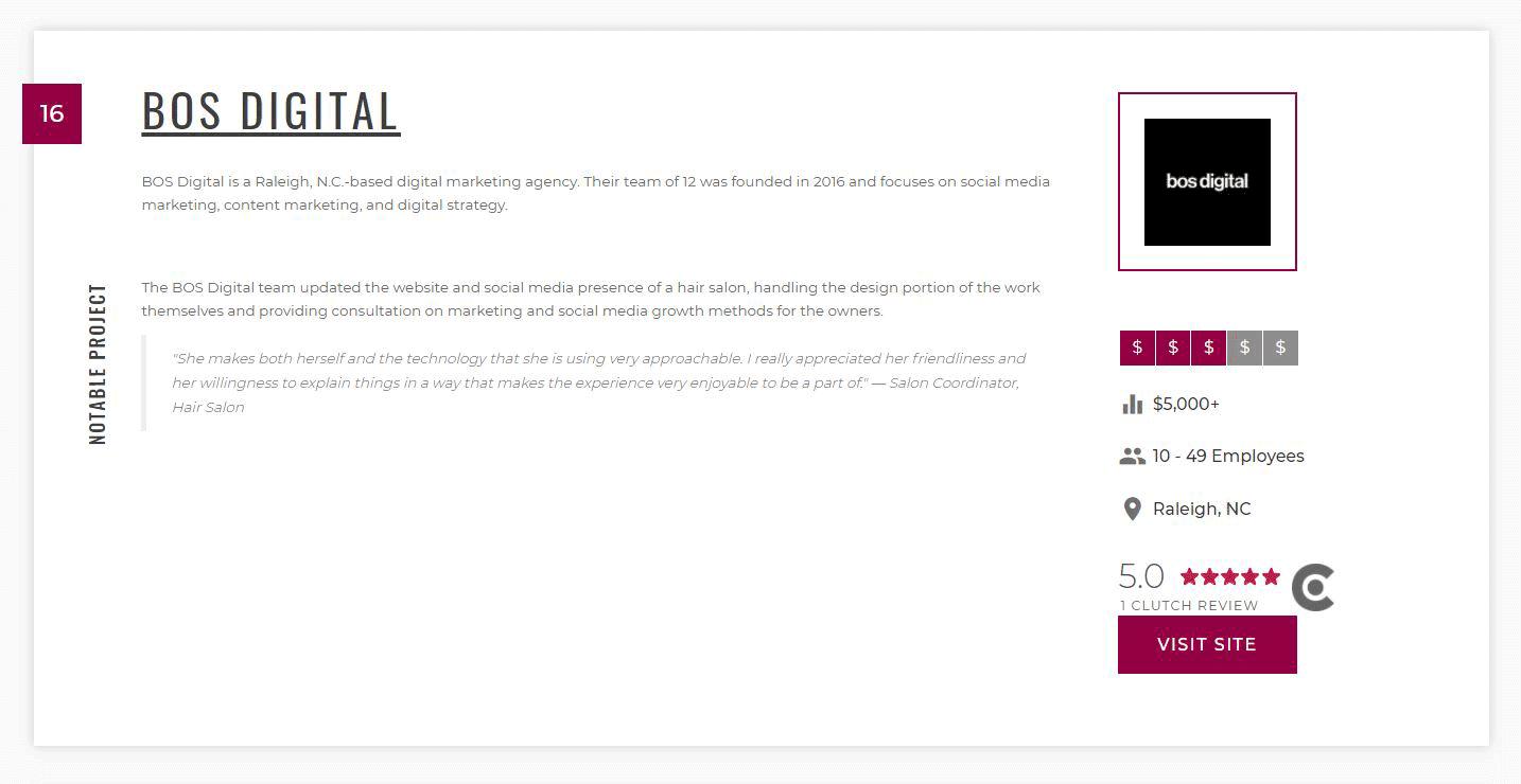 BOS Digital profile on Manifest